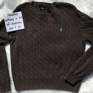 Ralph Lauren Brown Cable Knit Sweater
